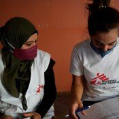 MSF staff members Sara and Krystel prepare medications for patients suffering from non-communicable diseases following door-to-door activities in the neighborhoods of Gemmayzeh and Mar Mikhael, the areas affected most by the explosion. © Mohamad Cheblak/MSF